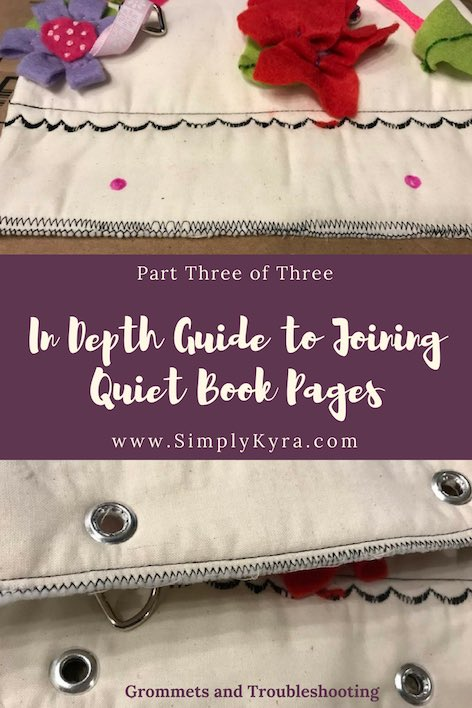 The final post is up on how I joined my quiet book pages! This one includes how I attached my grommets. Hope you enjoy and I can't wait to see your pages.