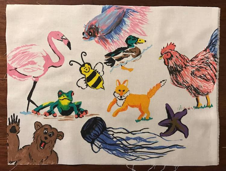 Finished colorful animals page with no fusible fabric reinforcing it.