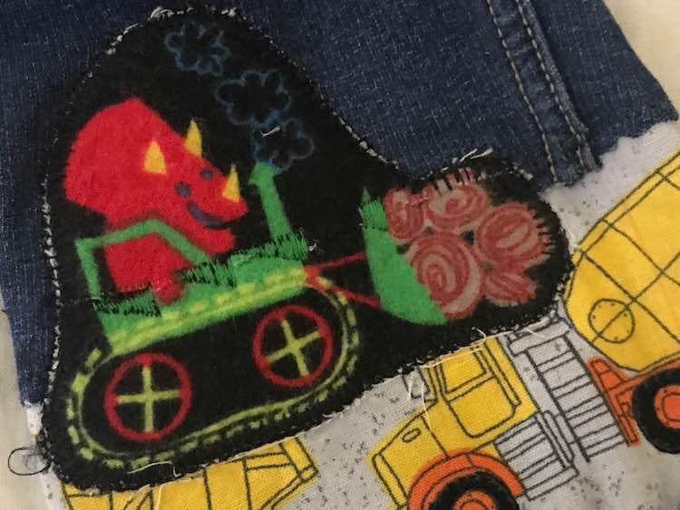 Close up of the green construction vehicle; my something green for the 52 weeks sewing challenge.