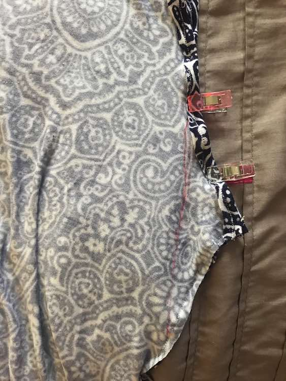I then drew the second line from the height I wanted the armhole to be, through the markings I measured, and to the bottom.