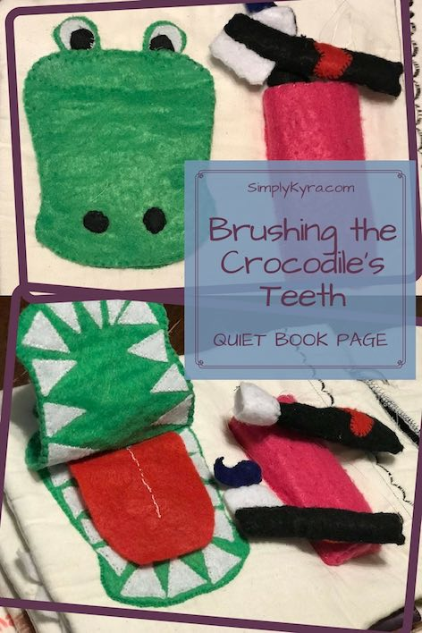 Teach you kids how to brush your teeth by brushing their crocodile's teeth on their very own quiet book page.