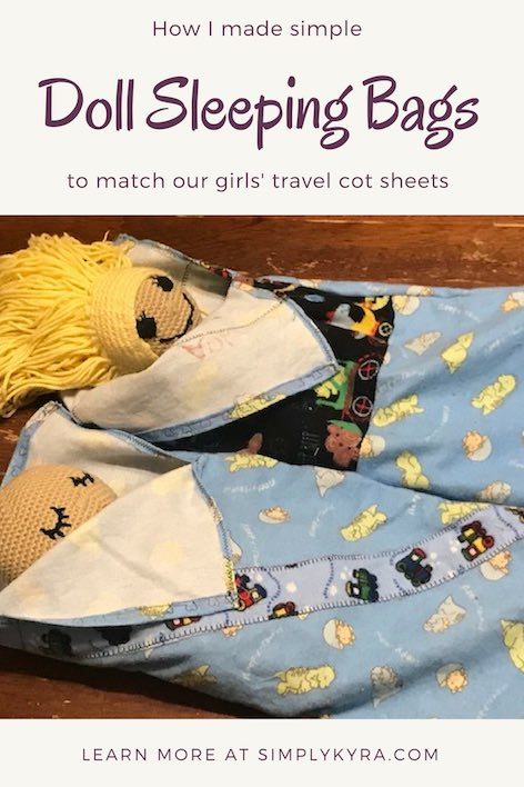 Did you want something a little bit extra when traveling to a hotel or camping out? Does your child have a doll they love to carry around and change? I created simple sleeping bags for my daughters' favorite bedtime dolls.