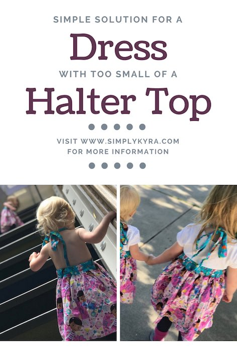 Have you ever had a halter top or halter dress that you wondered might be a tad bit too small or large for you kids? Why not fix it with a simple shirt?