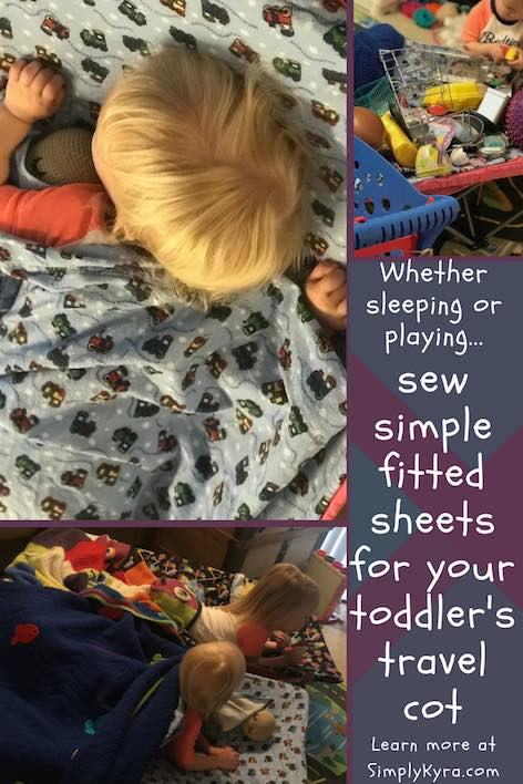 We bought a portable toddler bed for the girls while we travel and I ended up sewing up a fitted sheet and top sheet for them. Here's how I made it!