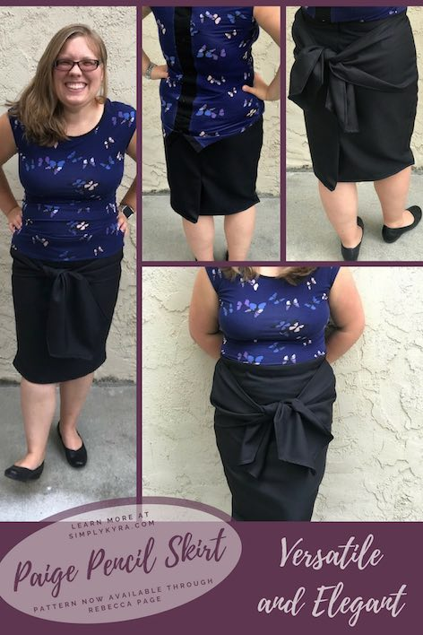 The Paige Pencil Skirt is a versatile asset to your wardrobe. You can make it with or without the bow added and as the bow is added to the side seams you can choose to tie it on the front or back depending how you feel at the moment. Perfect for a fancy outfit for date night, business outfit for work, or something dressy to slay your interview or presentation at school/work.