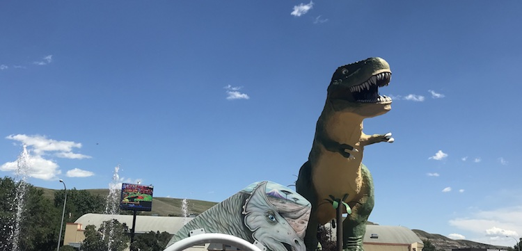The 'world's largest dinosaur' standing guard over the spray park.
