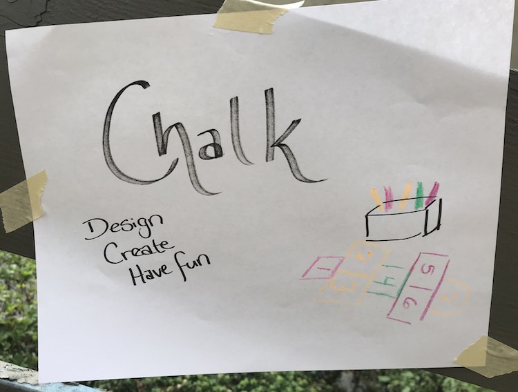 Sign for the chalk station.