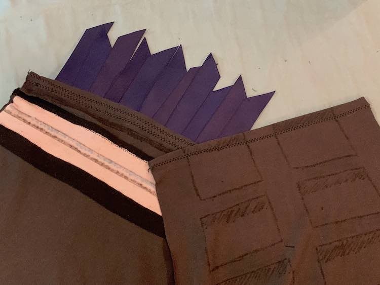 After folding over the hem on the ladder sleeve I sewed each sleeve hem with a zigzag stitch.