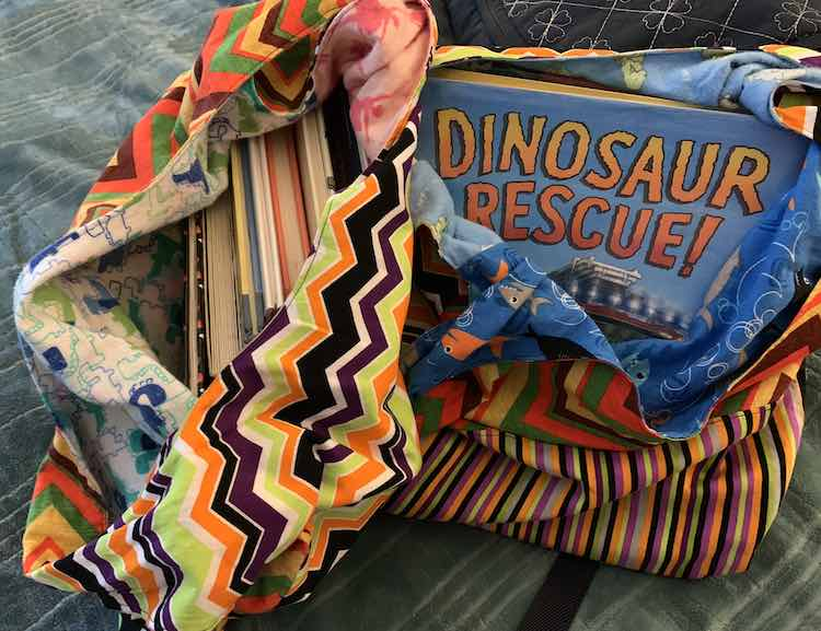 Dinosaur, Halloween, and vehicle library books contained within the new market bags.