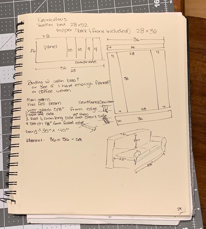 When I decided to start on the blanket I started by re-sketching the diagram Fabriculous had and then going over it, my couch dimensions (to make sure it would be wide enough), and seam types in my sketchbook as I was worried it wouldn't turn out.