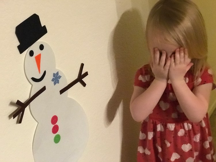 I set up the snowman and surprised Ada with it... and got a quick picture.
