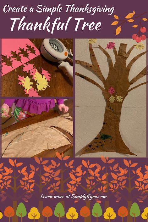 """Are you trying to come up things to do with your kids for Thanksgiving? I set up a simple paper 'Thankful Tree' for Thanksgiving on our wall and my kids love it! Check out my full post """"Create a Simple Thanksgiving Thankful Tree"""" on SimplyKyra.com for more information."""
