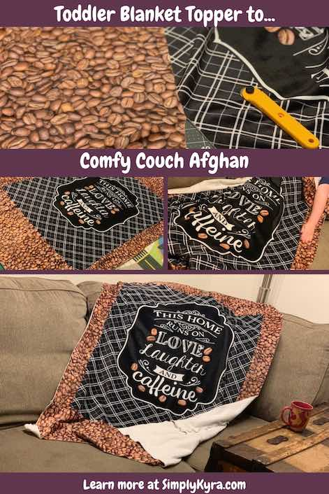 Take a simple toddler blanket topper and easily turn it into a larger kid blanket... or a comfy afghan for couch. So easy that the hardest part is not letting your family steal it.