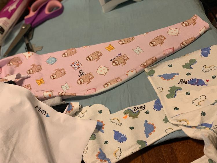 I used my iron to set the ink on my fabric before cutting out the individual labels into more manageable sizes.