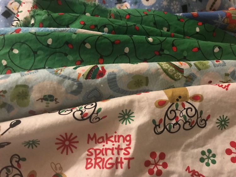 For the outside of the stocking I used prewashed cotton fat quarters I bought on sale from Walmart after Christmas.