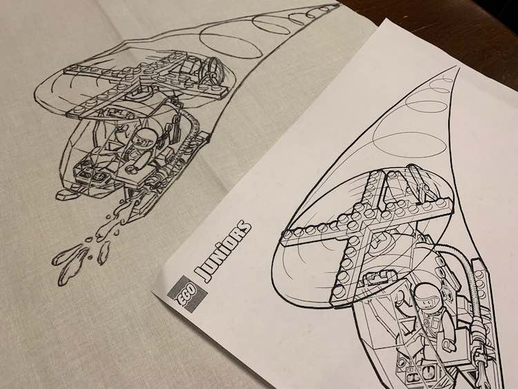 Coloring page and fabric helicopter.