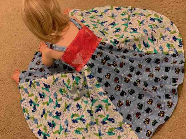Overview of Zoey's dress showing the back of the bodice.