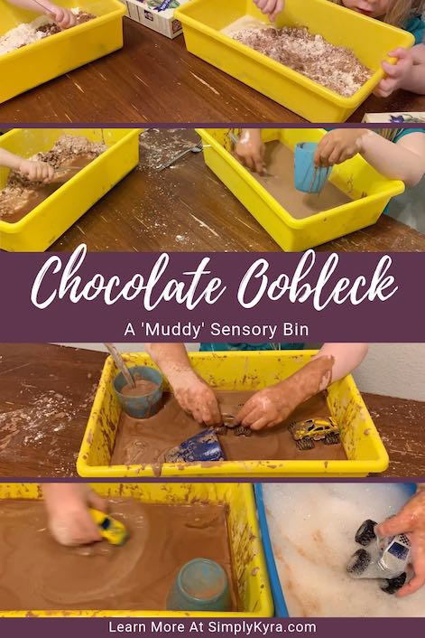 Change up your oobleck with cocoa powder to make ooey gooey mud. After exploring change it up by running your monster trucks through it or add some animals. So much fun!