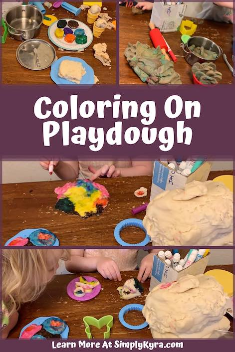 Change up your playdough with washable markers. You can easily color on your newly made creations. Or you could roll out your dough, color it, and then cut it out! Learn more at SimplyKyra.com.