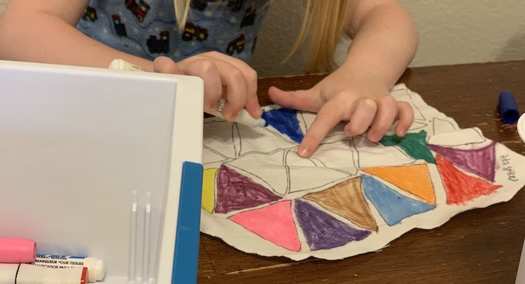 Ada loved coloring each piece using the fabric markers she hadn't gotten to use before now.