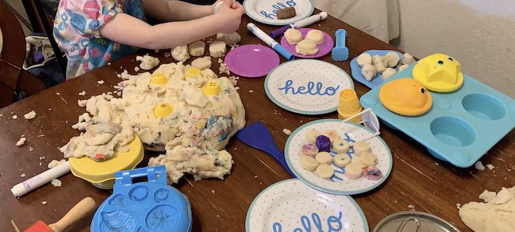 A heap of plain playdough and the assembled cookies.
