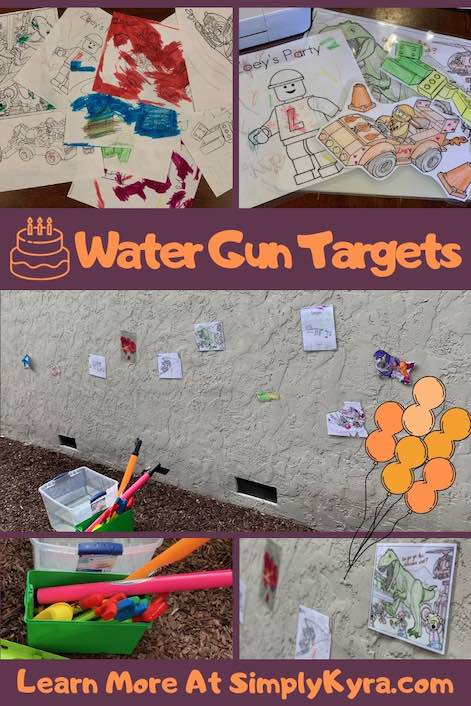 Pinterest image showing our water gun targets in progress and party ready.