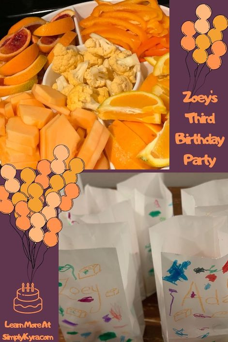 Pinterest collage of images from Zoey's third birthday party.