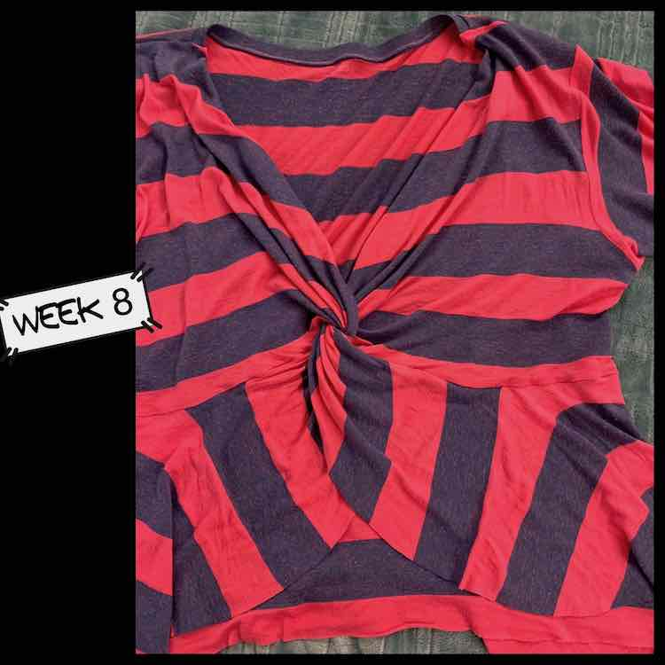 """Closeup of the Mariella top with a knot in the front and frills. The left side of the image is black with a label saying """"week 8""""."""