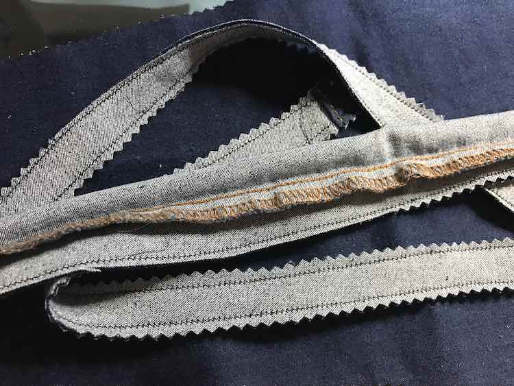 Strips of inside out skinny jean strips.