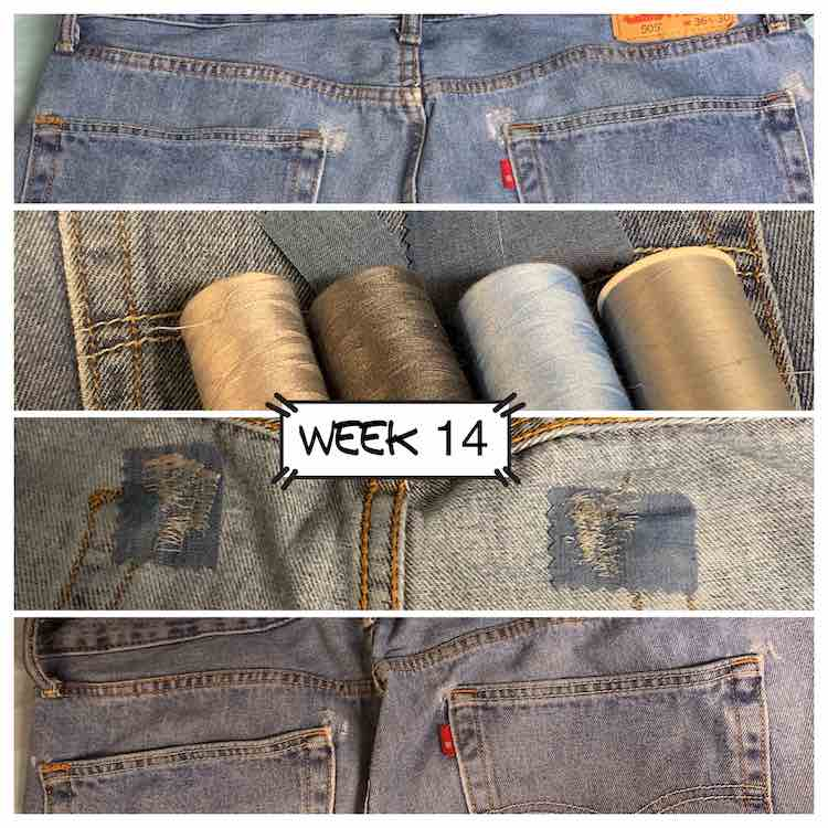 Four images showing jean mending. The top image shows the back of the jeans with holes forming in the upper corners of the back pockets. Second image shows the four thread I held up to the jeans while debating what to use along with the jean patches I used. The third image shows the inside of the mended pants with the jean patch and the thread showing. The fourth and final image shows the back of the fixed jeans.