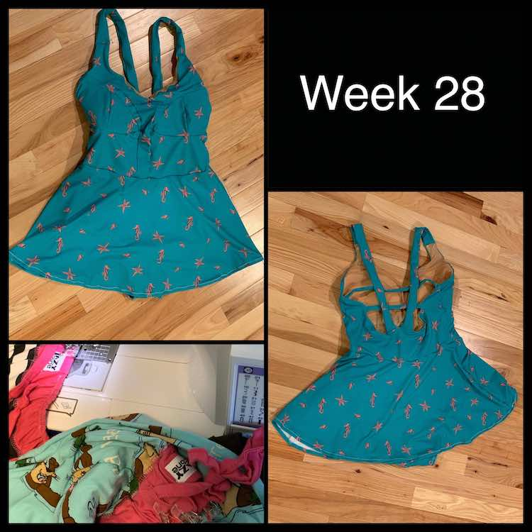 Front and back photos of the swimming suit on the ground. Also an image of some of the pajamas I fixed.