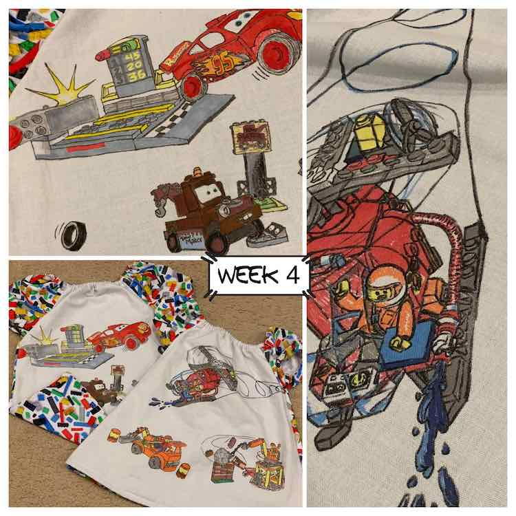 Week four's image showing the two shirts (bottom left, closeup of the Lightening and Mater (top left), and closeup of a helicopter (right side).