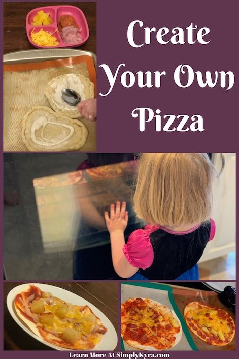 Pinterest image showing several simple photos of pizza. Specifically spreading ranch on personal pizza crust, watching the oven, and some finished baked pizzas. The image also shows the post title and my main blog url.