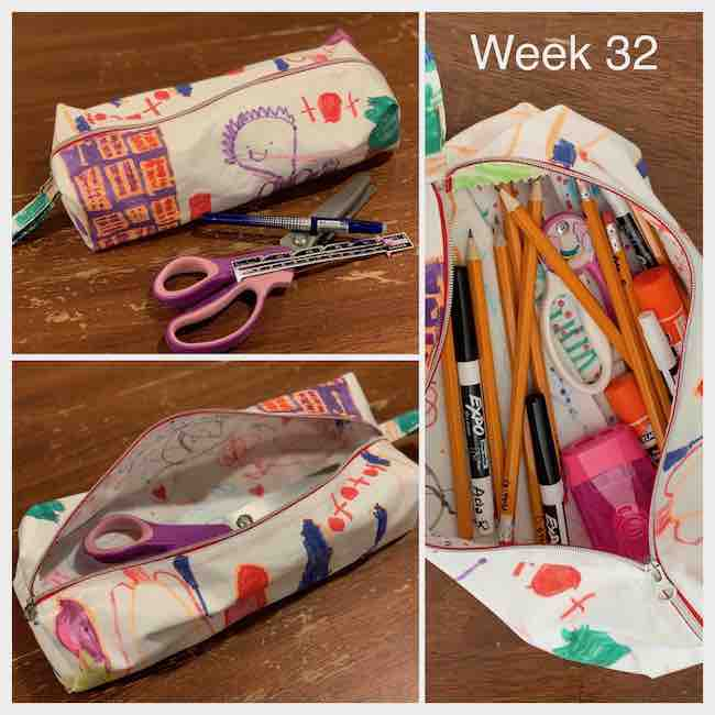Three views of the finished pencil box. The left images show a closed pencil box with my pinking shears in front of it for sizing. The bottom image shows it opened with the pinking shears inside. The right image is a closeup of the opened pouch with scissors and pencils inside.