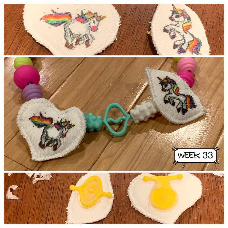 Middle image shows the two finished unicorn pendants on a snap bead necklace. The image above it shows the colored and sewn pendants before it was added to the necklace while the bottom image shows the back side of the pendants with the bead glued to them.