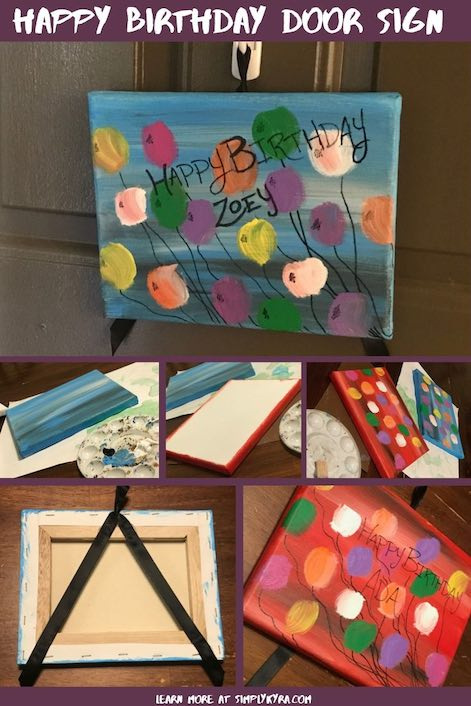 Pinterest image showing the birthday sign finished and in progress with the title of this blog post.