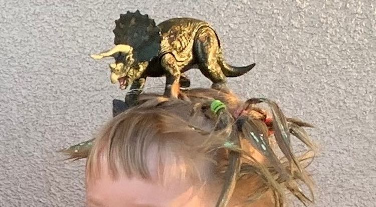 Closeup front view of the ferocious looking dinosaur on top of Ada's head.