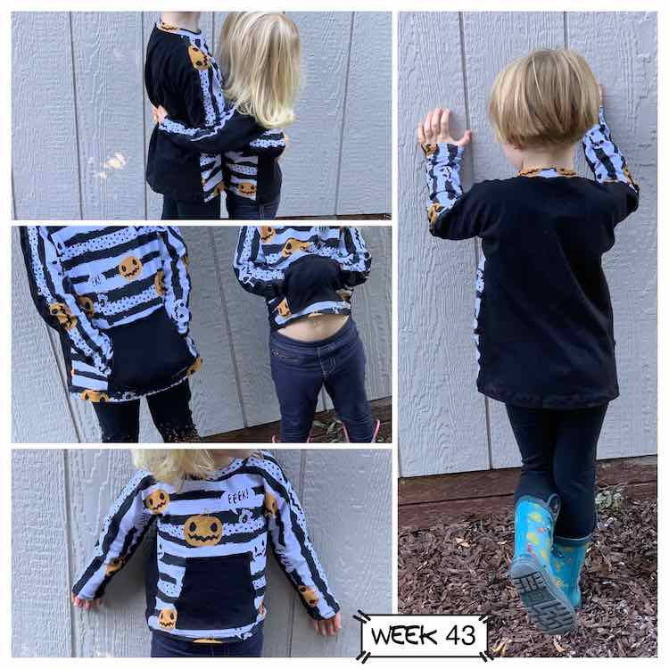 Collage of four images. The right image shows the back of Ada's top. On the left side there's a stack of three. Top is a side view of the girls hugging, middle is a front view of the shirts, and the bottom image is a closeup on Zoey's shirt. All images show a long sleeve slightly batwing crew neck top. The back and kangaroo pocket are black. The front and neckband are black and white striped with pumpkins and spiders on it.