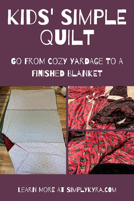 Pinterest image showing a collage of three images and the title of the blog post. The left image is of the blanket inside out but showing how it was put together well. The right images show the yardage used, on the top right, while the bottom right image shows a closeup of the finished blankets. All images can also be found below.