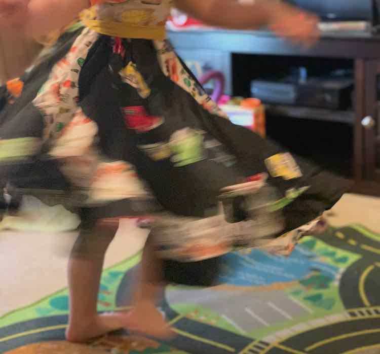 Closeup of the skirt as Ada twirls in our living room.