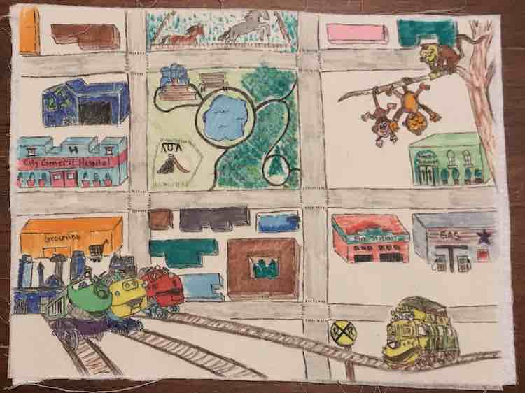 Zoey's quiet book page after adding the colors and fusing the page to the interfacing. I left the background uncolored so the buildings and roads would pop more from the background page. Love how the bottom three chuggers pop from the page in comparison with the other characters.