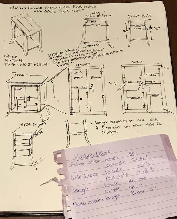 Paper showing diagrams of the end table appliances. Measured and a quick overview jotted down to help me start planning more later.