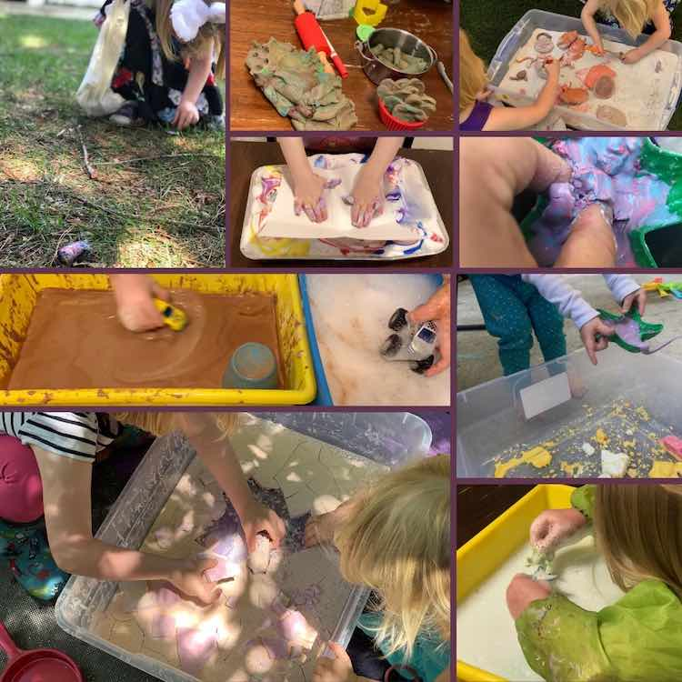 Collage of nine different images showing several different sensory play ideas.