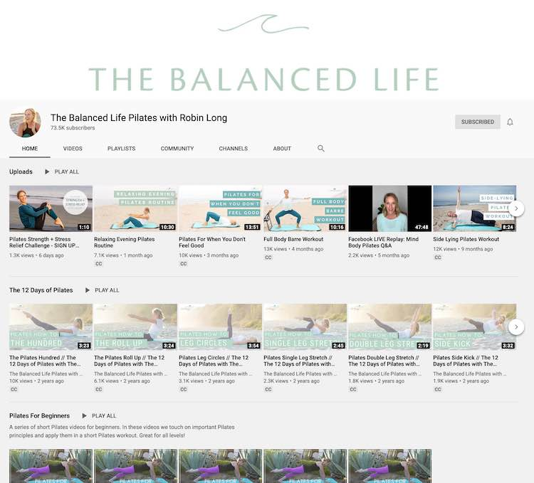 YouTube screenshot (taken on March 2nd, 2020) of The Balanced Life showing her recently uploaded videos, the 12 days of Pilates series, and her Pilates for beginners series.
