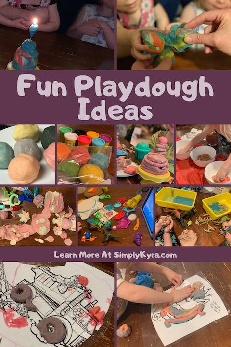 Image for Pinterest showing a collage of eleven images along with the title and URL of my homepage. All images show what you can do with playdough. A few of these images aren't shown below as they were moved to their own post, but these posts are linked below.