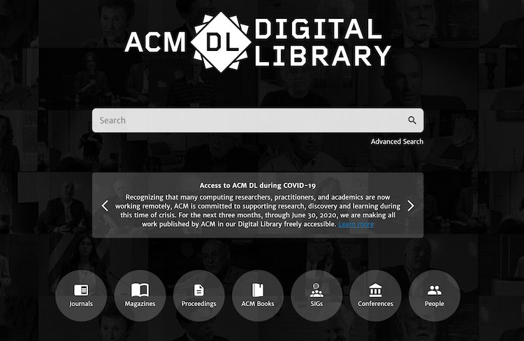 Screenshot of the ACM Digital Libary's homepage.