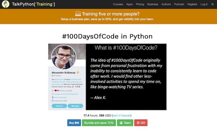 Screenshot of the TalkPython #100DaysOfCode in Python page.