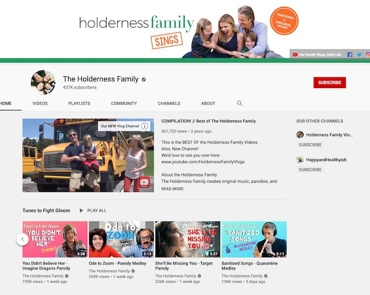 Screenshot of The Holderness Family's YouTube homepage.