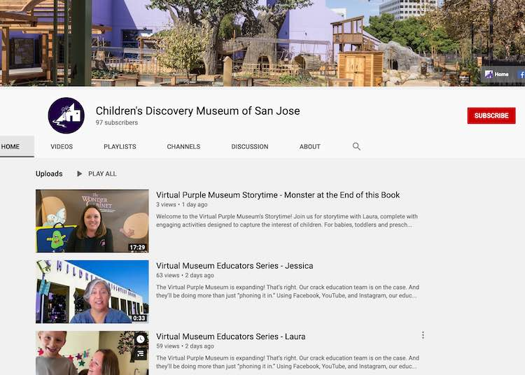 The YouTube homepage for the Children's Discovery Museum of San Jose showing their three most recent videos all within the last two days.