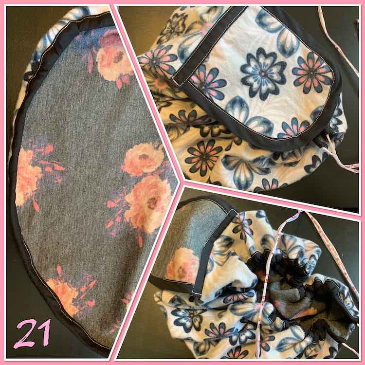 "Image shows a collage of three views of the flowered knit drawstring pouch with a pink ""week 21"" at the bottom."